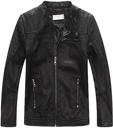 LJYH Boys Hood Faux Leather Jacket Outdoor Coats