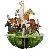 Santoro 3D Pirouette biglietto d'auguri - cavalli e pony