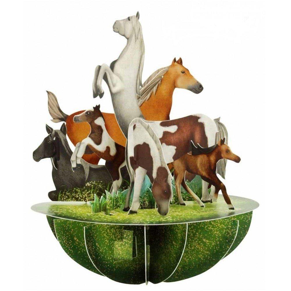 Santoro 3D Pirouette Greeting Card - Horses and Ponies Santoro-London PS046