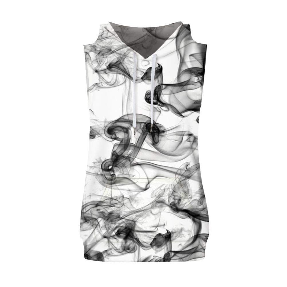MZTYX Us Black Smoke Pattern Print Beach Mens Two-Piece Suit Summer Mens Casual Sleeveless Vest Shorts