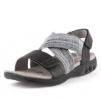Therafit Jessica Women's Leather Adjustable Cross Strap Sandal - for  Plantar Fasciitis/Foot Pain