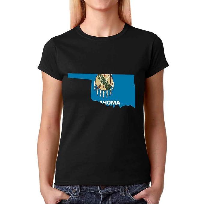 a276256ec1 AW Fashions Vintage Oklahoma State Flag Premium Women's T-Shirt (Small,  Black)