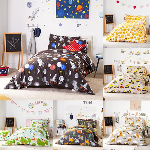 Children's Polycotton Single Duvet Cover set - Galaxy Design Shopisfy