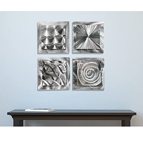 Mesmerizing Sleek Silver Contemporary Hand Made Metallic Wall Accent With  Abstract Multi Design Etchings