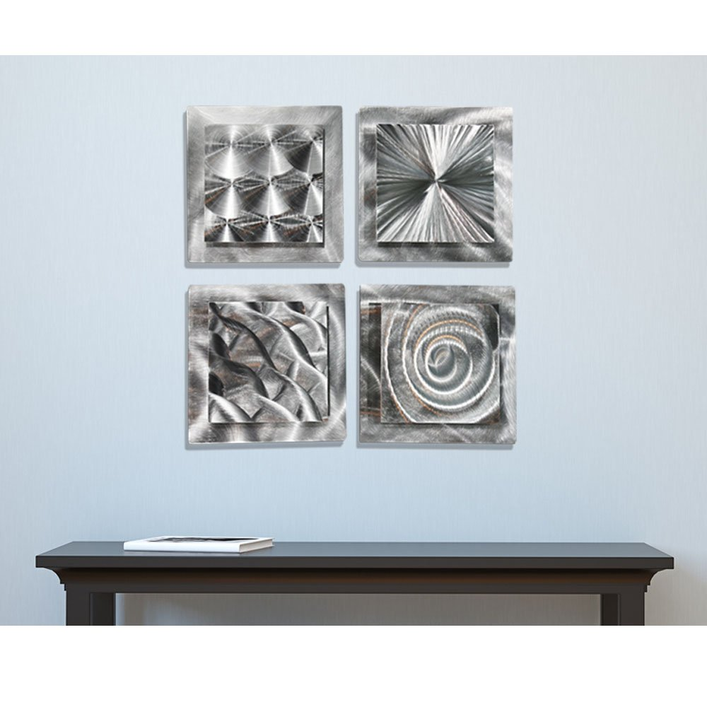 Mesmerizing Sleek Silver Contemporary Hand-Made Metallic Wall Accent With Abstract Multi-Design Etchings - Set Of Four Home Decor, Modern Metal Wall Art - 4 Squares by Jon Allen by Statements2000
