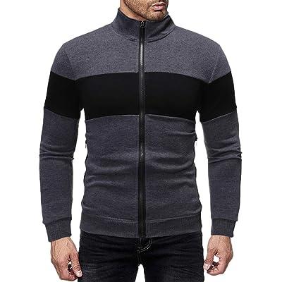 Eoeth Men Full Front Zipper Outwear Jackets Exercise Fitness Slim Fit Patchwork Coat Long Sleeve Sweatshirt Sportswear: Clothing