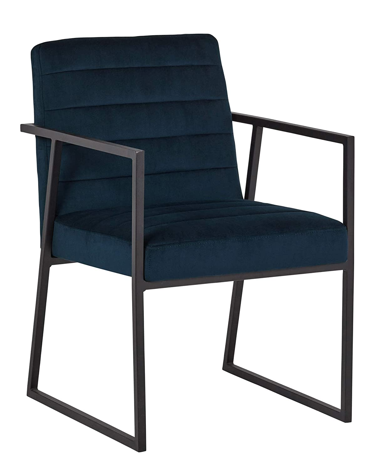 Rivet Allie Modern Velvet Industrial Dining Kitchen Chair, 33 Inch Height, Blue