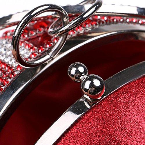 red en de Sacs de Sac à Main à Sac soirée à KYS Manette avec soirée Main Sacs Sacs Strass Diamants Petits soirée Rond bandoulière Femmes Chaîne Sacs de TnBwwq4p