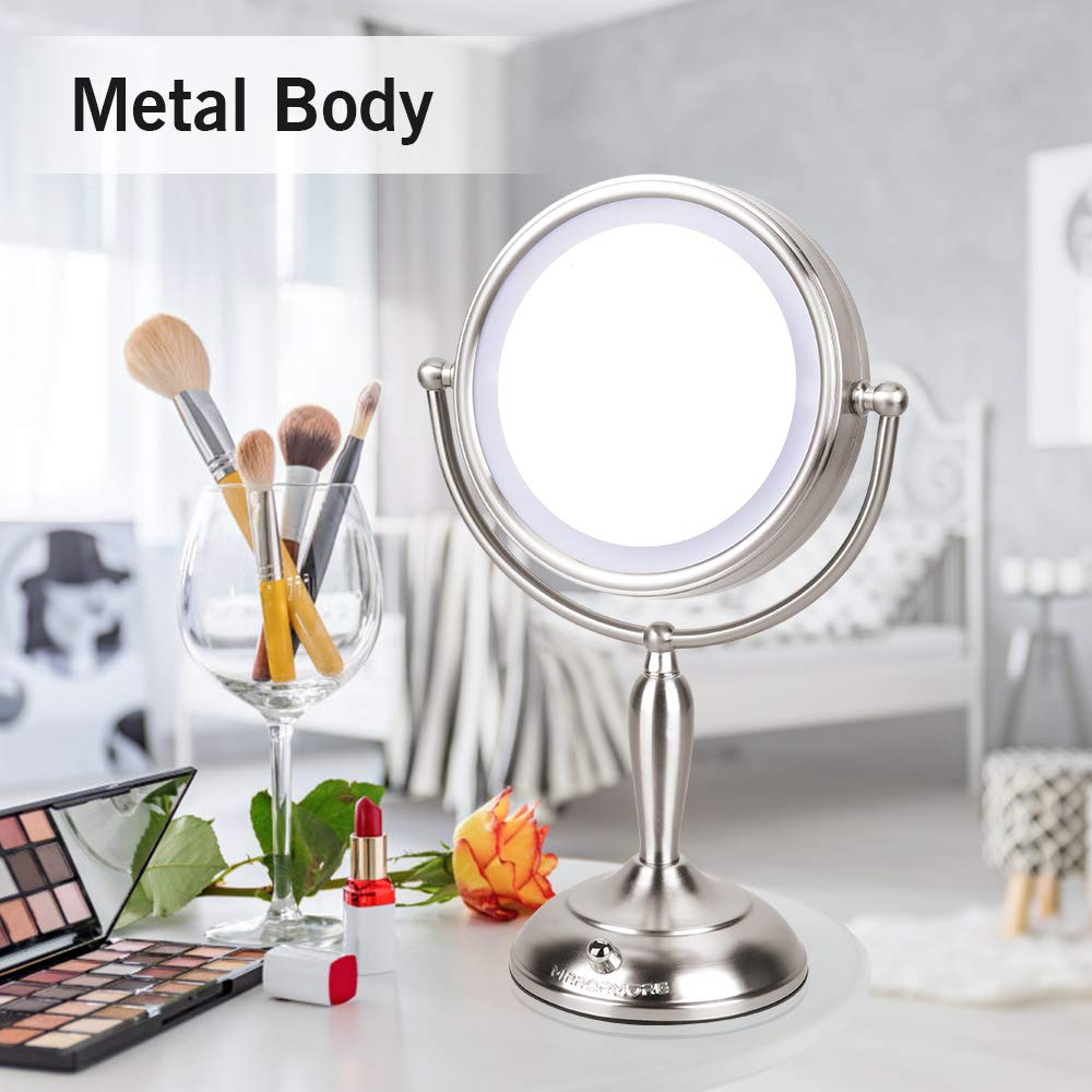 """MIRRORMORE Professional 7.5"""" Lighted Makeup Mirror, 10X ..."""