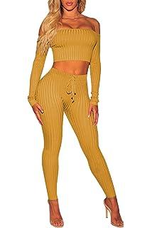 45ead71a65 Amilia Womens Sexy Long Sleeve Crop Tops High Waist Leggings 2 Piece ...