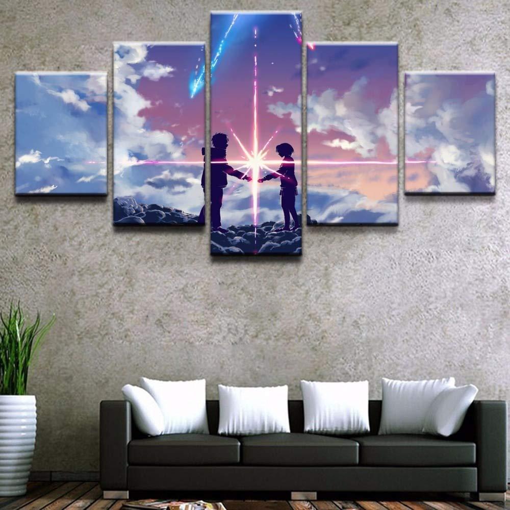 5 pi/èces Animation Movie Your Name Posters Modern Home Wall Decoration Peinture Toile Art HD Peinture sur Toile Imprim/ée s