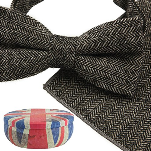 Choose Colours Medium From Beautiful Sets Tins Gift Handkerchief Wool Grey Luxury Herringbone Pocket Over 10 Tie Men's Bow piece 2 amp; Square in qRa7HZ