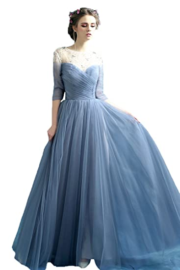 YSK Sheer Neckline Crystal Evening Dresses A-Line Tulle Prom Gowns Long