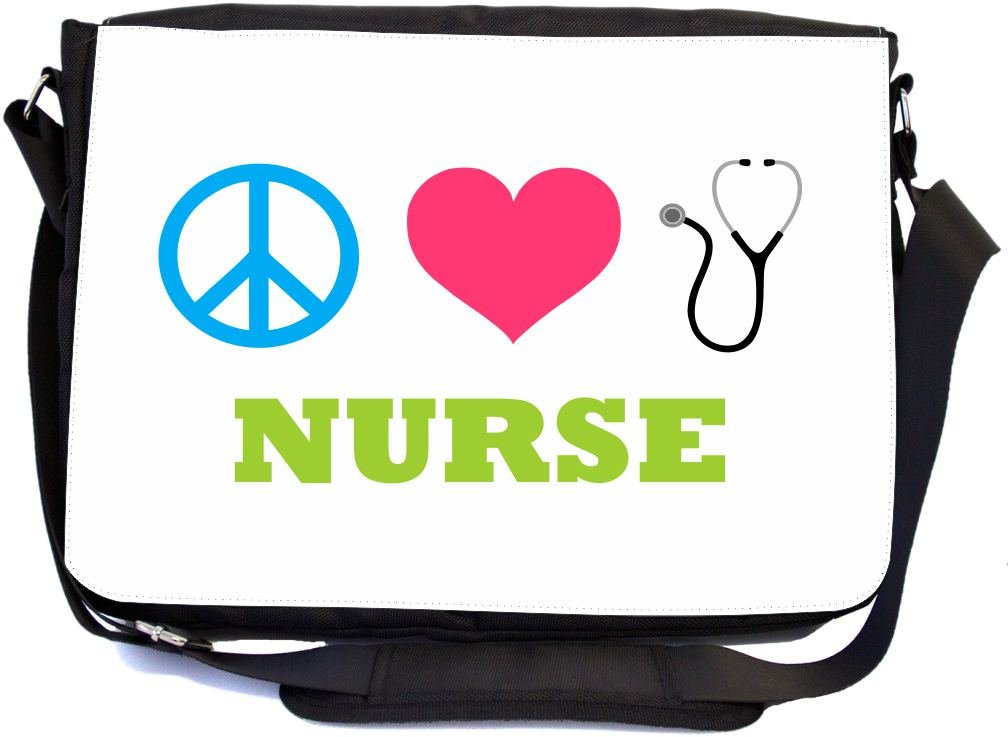 UKBK Peace Love Nurse Messenger Laptop Bag with Pencil Case by Rikki Knight