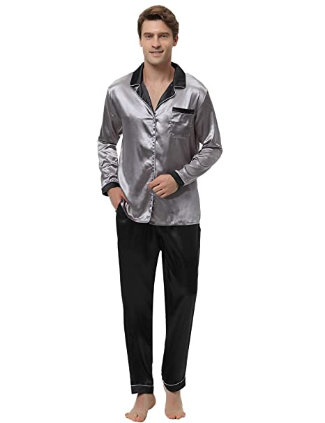 Aibrou Clásico Pijamas Hombre 2 Piezas Saten Ropa de Dormir Hombre,Suave,Cómodo y