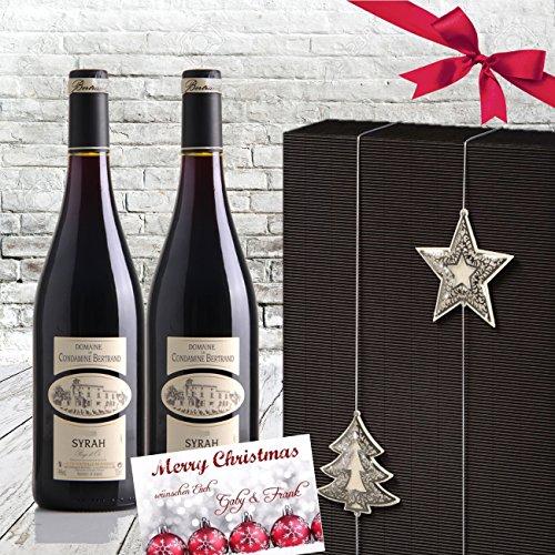 Exklusives Weingeschenkset Condamine Bertrand Merlot Rotwein Luxusgeschenk in 2er Geschenkverpackung Christmas X-Mas Schwarz silber