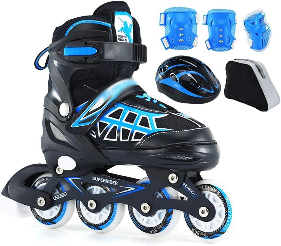 ジュニアサイズ調節可能ローラーブレード男の子と女の子快適なスポーツインラインスケート子供の安全で丈夫なインラインスケート (Color : 青, Size : L-EU(37-42)) 青 L-EU(37-42)