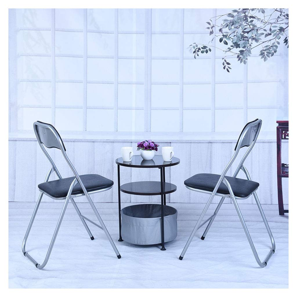2Pcs Home Backrest Folding Chairs Casual Office Training Chairs with Metal Frame - PU Leather - Easy to Fold, Store - Silent Wear -Resistant Anti-Slip Mats, Triangular Design and Thickened Steel Pipe by COLOR-LILIJ
