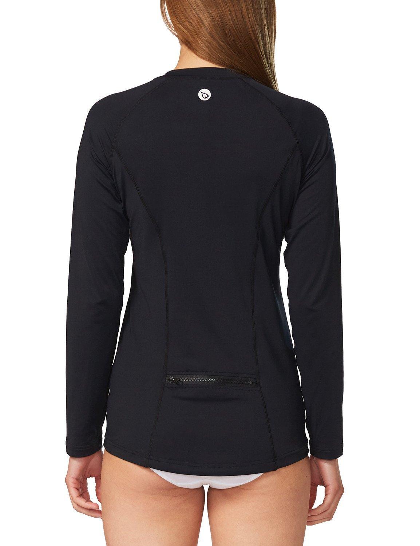 Baleaf Women's Long Sleeve Sun Protection Splice Rashguard Swim Shirt with Back Pocket Black Size M by Baleaf (Image #2)