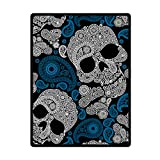 JIUDUIDODO Home Bedding & Wonderful Keep Warm Gifts Happy Halloween Skull Blanket 58 Inches x 80 Inches Sofa/Bed Used Gift for Family/Friend