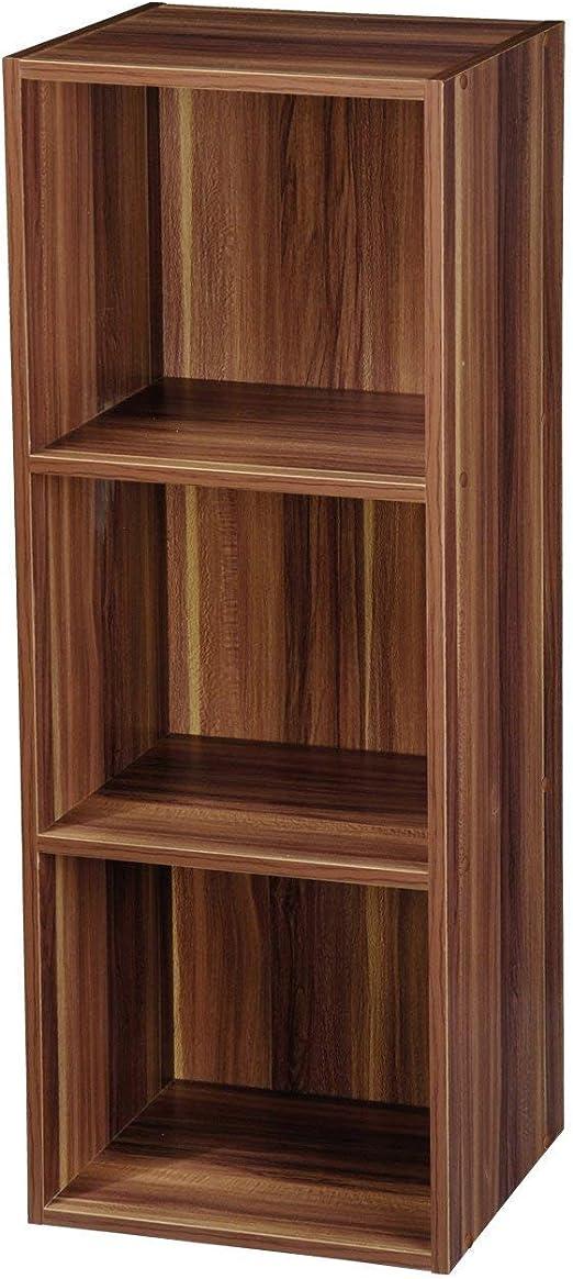 Estante de madera, varios modelos con 1, 2, 3 o 4 compartimentos, Teak, 3 niveles