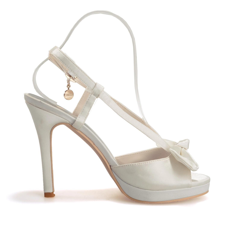 Elegant high schuhe5915-15 Frauen High Heel Seide Peep Toe anhänger anhänger anhänger Bogen Hochzeit & Abend Feine Ferse  89c7c8