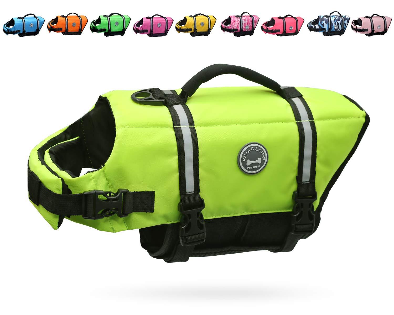Vivaglory Dog Life Jacket Size Adjustable Dog Lifesaver Safety Extra Bright Yellow Vest Pet Life Preserver, Extra Bright Yellow, Large by Vivaglory