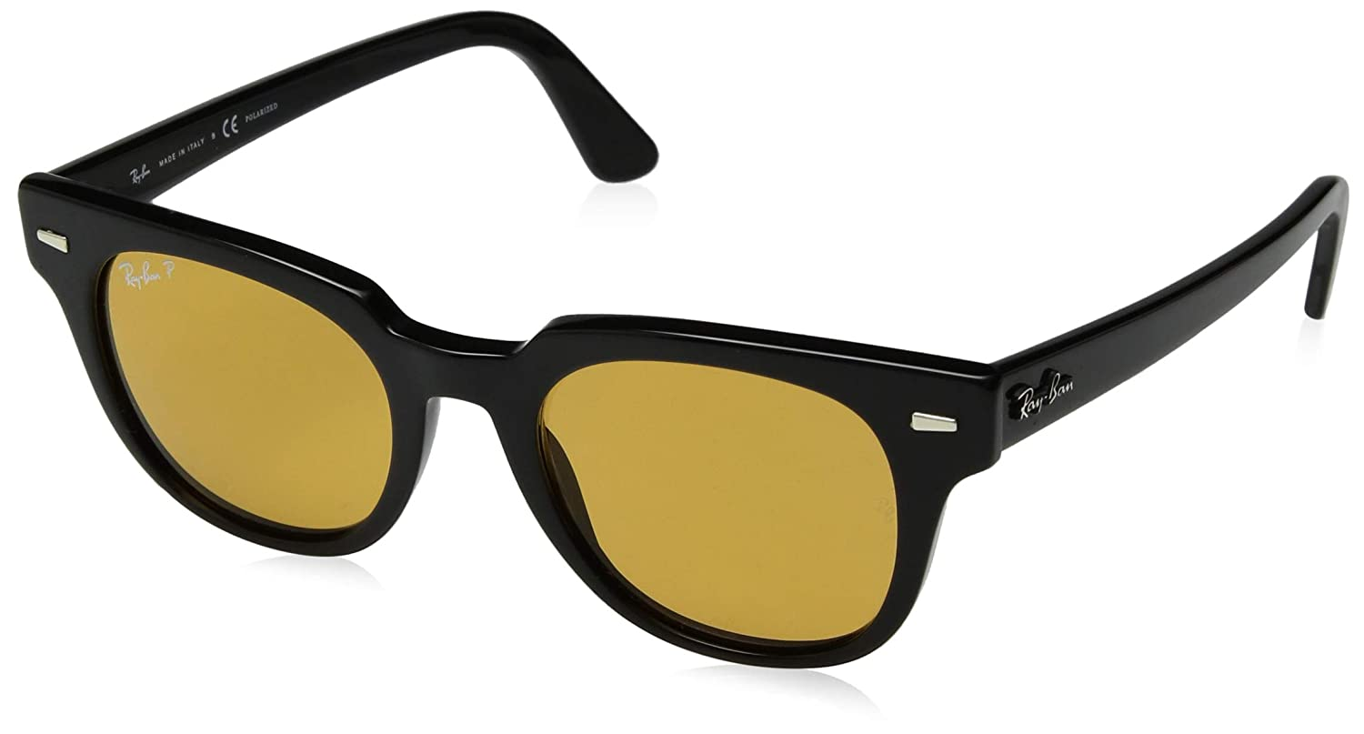 6702258c2e1 Amazon.com  Ray-Ban Meteor Polarized Iridium Square Sunglasses ...