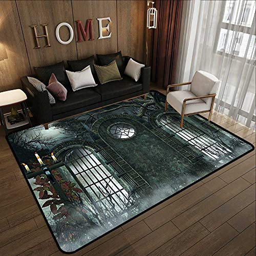 Bath Rugs for Bathroom,Horror House Decor,Moon Halloween Ancient Historical Gate Gothic Background Candles Fiction View,Hunter Green 78.7