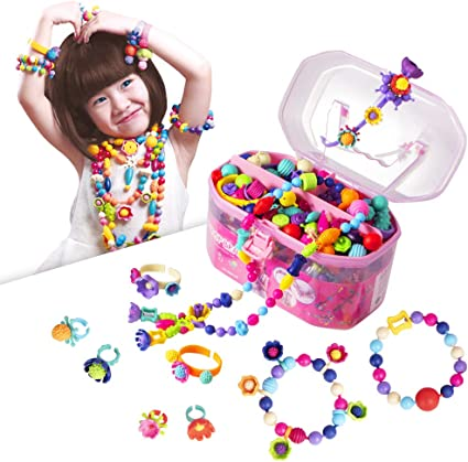 Necklace Bracelet Bead Making Jewellery Kit Gift for Kids Christmas Blue Mix