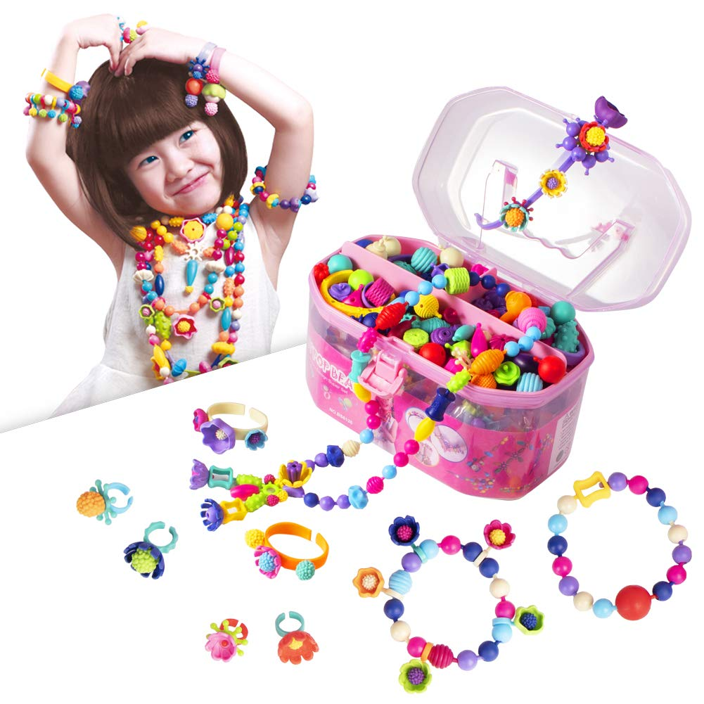 Pop Beads, Jewelry Making Kit - Arts and Crafts for Girls Age 3, 4, 5, 6, 7 Year Old Kids Toys - Hairband Necklace Bracelet and Ring Creativity DIY Set | Ideal Christmas Birthday Gifts (520 PCS) by BIRANCO.