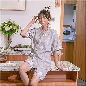 ZTXCM Cultura Japonesa Ropa Mujer Kimono Corto de algodón con Cuello en V de Pareja Estilo japonés Yukata for el Adulto Hombre Jinbei Pijama de Dormir de la Ropa del (Color :