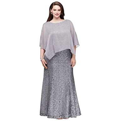 Davids Bridal Glitter Lace Plus Size Mother Of Bridegroom Gown