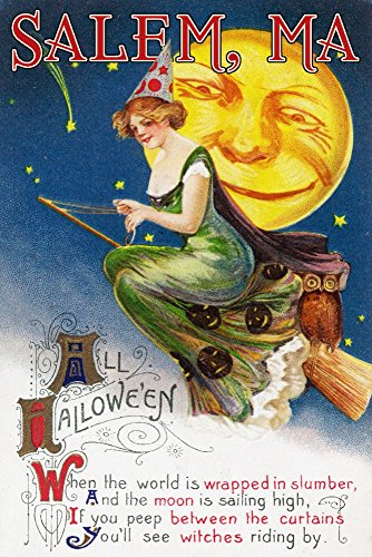 Salem, Massachusetts - Halloween Greeting - Witch on a Broom by Full Moon - Vintage Artwork (100% Cotton Kitchen Towel) by Lantern Press (Image #2)