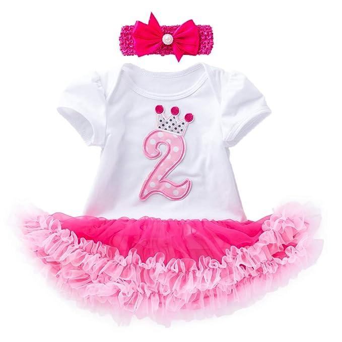 Bestow Vestido de cumpleaños con Estampado Digital de Manga Corta para bebé niña Falda de Malla