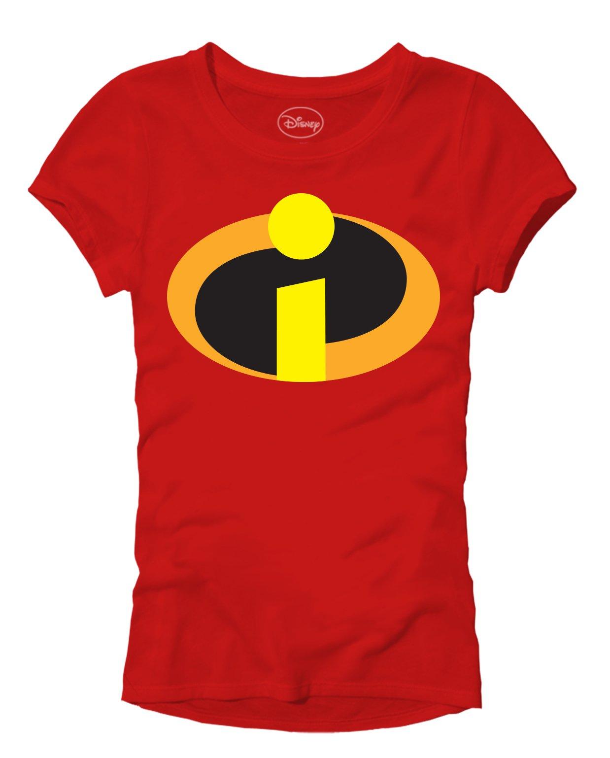 Disney Pixar Incredibles 2 Juniors Movie Logo T-Shirt (Red Mrs. Incredible, Medium)