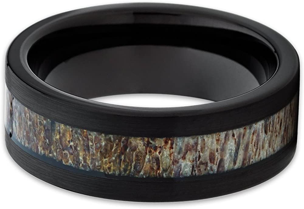 B06ZZN6VN5 Silly Kings Deer Antler Wedding Band Men & Women Black Tungsten Wedding Band 8mm Tungsten Carbide Ring 61fiPAxN5LL