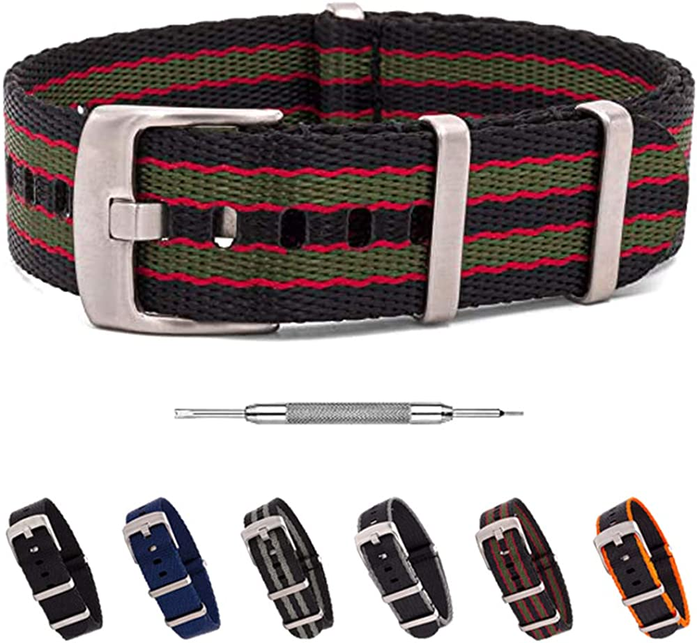 Benchmark Basics Seatbelt NATO Watch Strap - Heavy Duty Ballistic Nylon Replacement Watch Band - 20mm or 22mm (6 Colors)