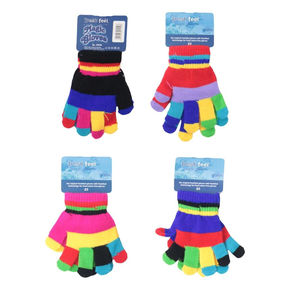 4pairs Boys Girls Back To School Wear Stetch Gloves Kids Funky Multi Colour Gloves Outdoor Winter Warm