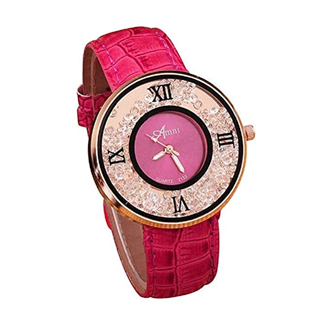 Clásicos Mujer Cuarzo Reloj,Scpink Moda Simple Metal Retro Redondo Bisel de Acero Inoxidable Analógico Wrist Reloj con Rhinestone Correa de Cuero Niñas ...
