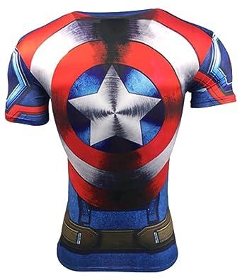 A. M. Sport Camiseta Fitness Compresion Hombre con Dibujos de Superheroes para Entrenar y Hacer Deporte. Licras. (Capitan Tirantes/Escudo): Amazon.es: Ropa ...