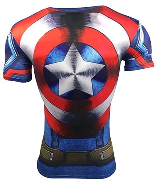 Camiseta fitness compresion hombre con dibujos de superheroes para entrenar  y hacer deporte. Licras. b046fe8e963dc