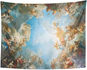 Tarolo Decor Wall Tapestry Versailles Paris France April 18 Ceiling Painting in Hercules Room of The Royal Chateau on at Palace Near 60 x 50 Inches Wall Hanging Picnic for Bedroom Living Room Dorm