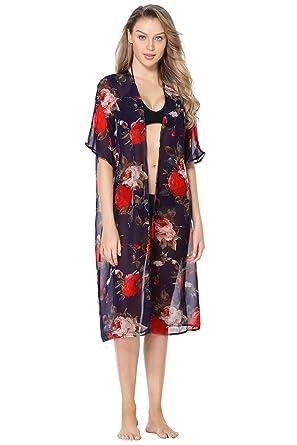98486a05e2 Amazon.com: Marina Threads Womens Bathing Suit Cover Up Kaftan Tassel  Chiffon Swimwear Bikini Cover Dress, Navy, One Size: Marina Threads