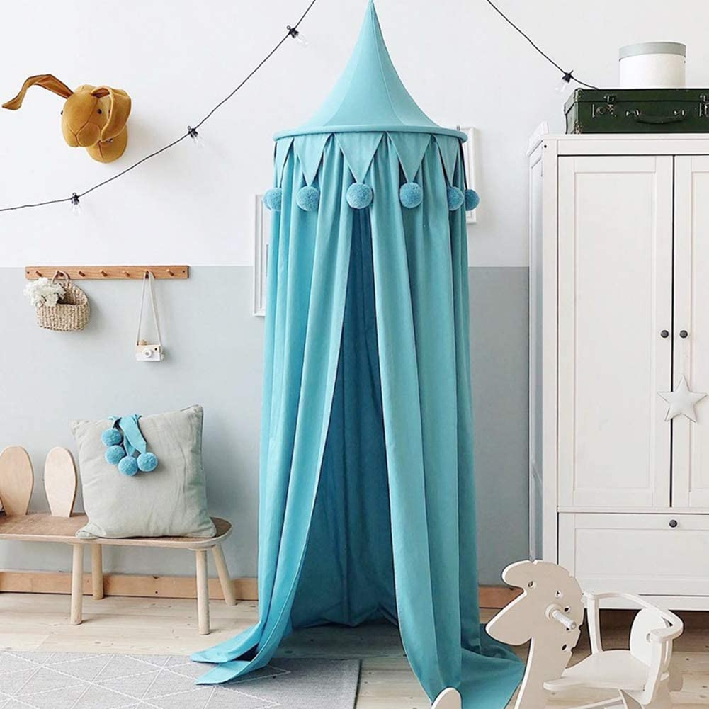 AchidistviQ Canopy Round Pompom Dome Hanging Mosquito Net for Game Tent Kids Babys Bed White