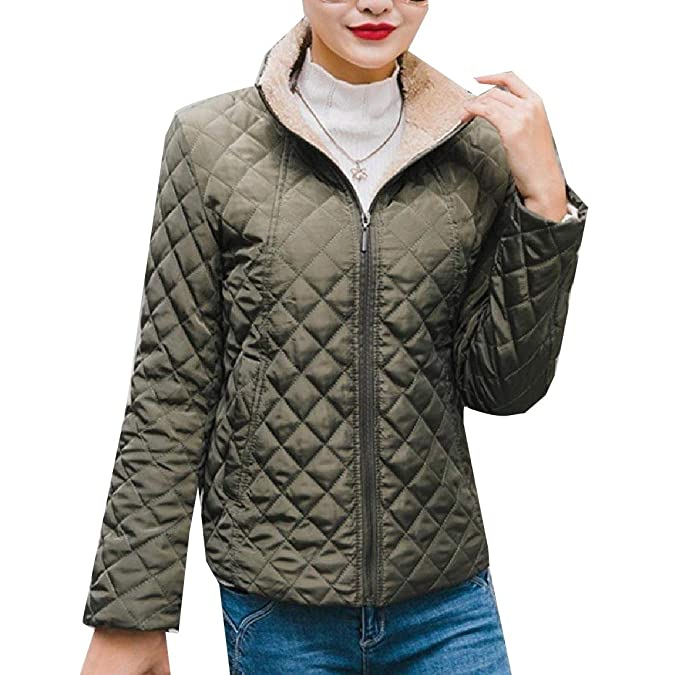 fdc2ba1230c Tootless-Women Plus Velvet Outerwear Quilted Jogger Puffer Jacket Coat Army  Green XS