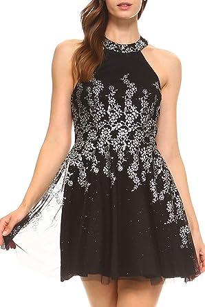 4841b916ec51 Teeze Me Juniors Sleeveless Halter Floral Glitter Mesh Cutout Back Party  Dress Black/Silver