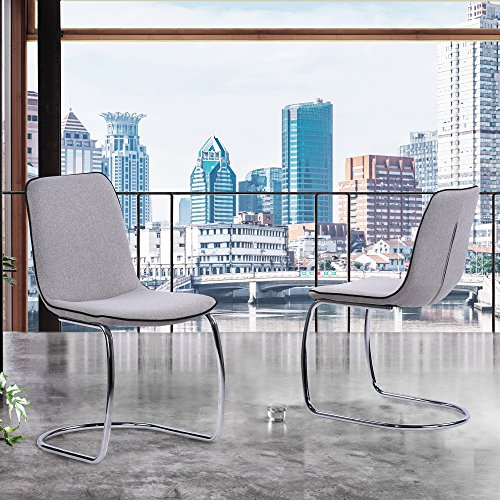 Armen Living LCBTSIPW Brittany Dining Chairs, Pewter For Sale