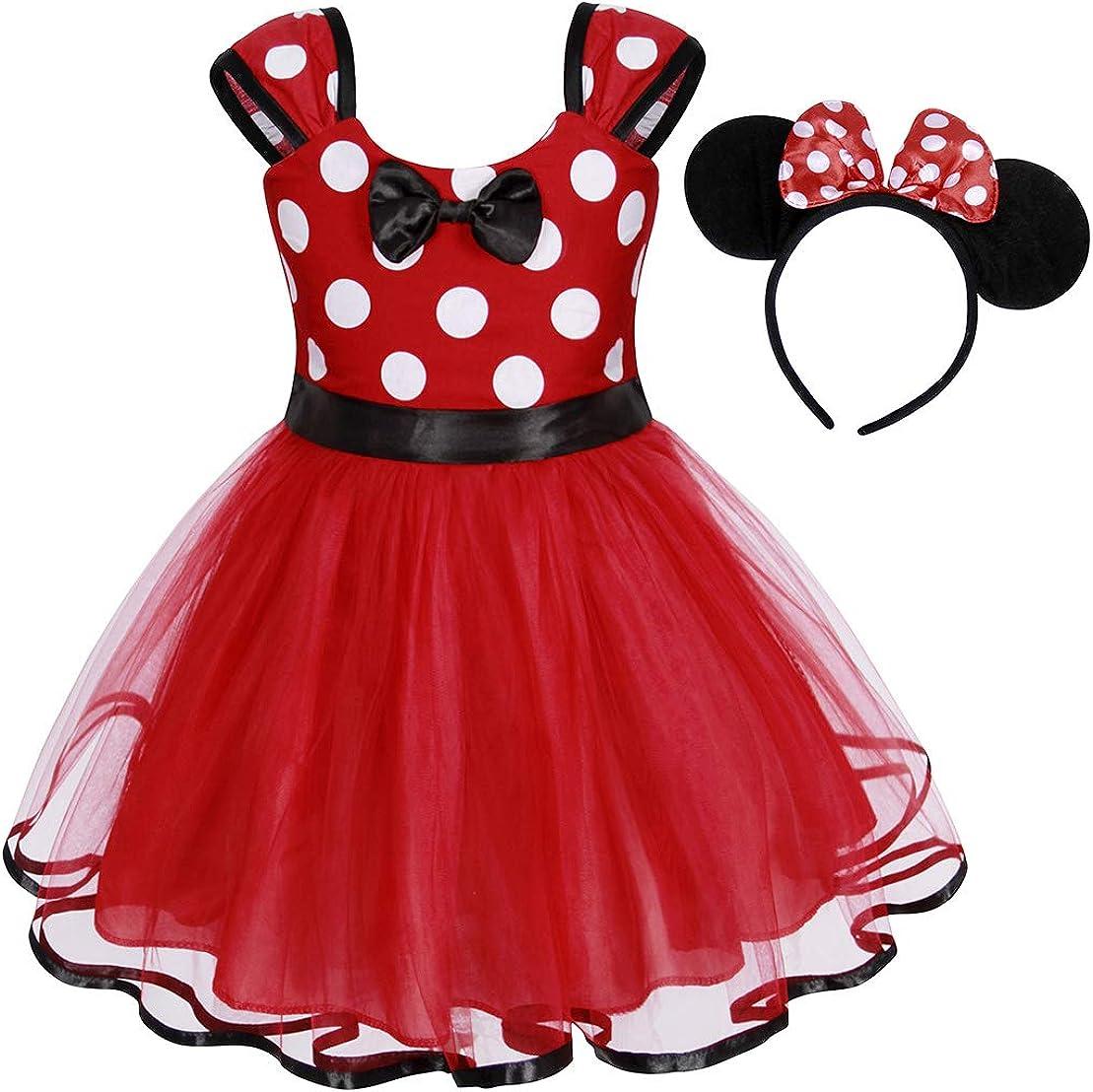 Jurebecia Filles Toddler Polka Dot Pois Robe Princesse Bowknot Tutu Mini Mouse Ear Oreille Bandeau F/ête danniversaire Tenue 1-7 Ans
