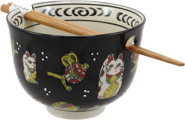 Ebros Gift Auspicious Lucky Meow Cat Japanese Maneki Neko Colorful Porcelain Bowl With Bamboo Chopsticks Set For Salad Ramen Pho Soup Cereal Home Kitchen Decorative Bowl Black Kitchen Dining